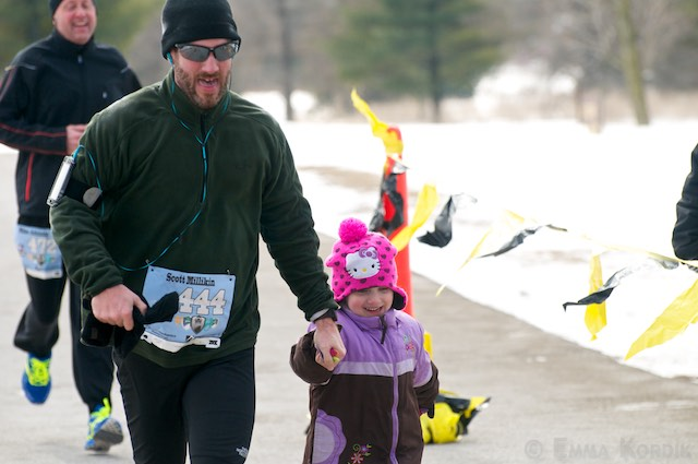 Father and little daughter running